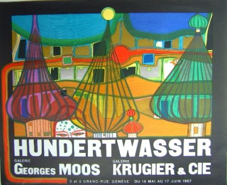 Lithographie Hundertwasser - L'Expulsion