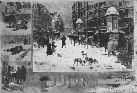 Radierung Buhot - L'hiver e 1879 à Paris