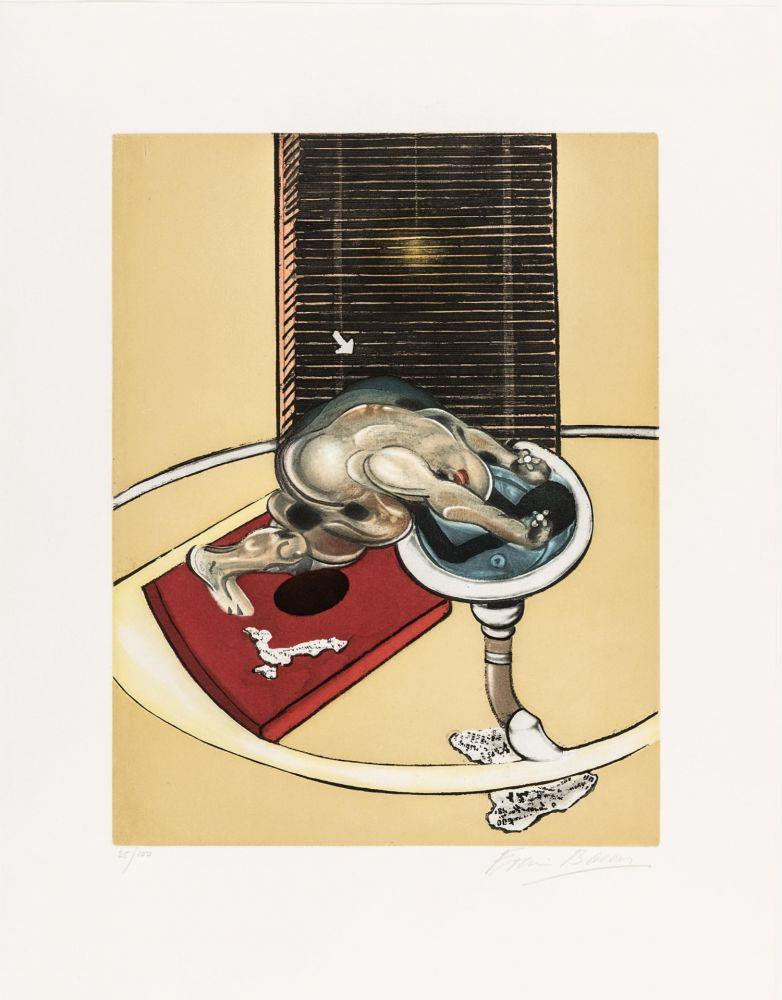 Radierung Und Aquatinta Bacon - L'homme au lavabo
