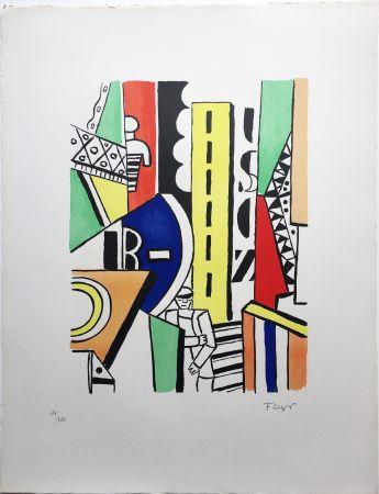 Lithographie Leger - L'HOMME DANS LA VILLE (1959).