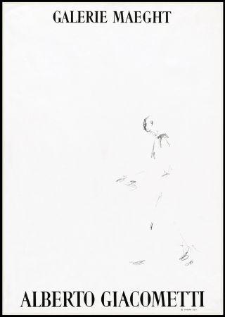 Lithographie Giacometti - L'HOMME QUI MARCHE (1957). Affiche lithographique pour une exposirion à la Galerie Maeght.