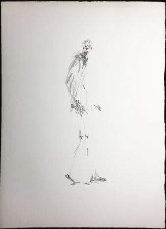 Lithographie Giacometti - L'HOMME QUI MARCHE.  Lithographie pour Dessins II (Maeght 1978).