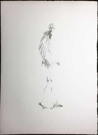 Lithographie Giacometti - L'HOMME QUI MARCHE. Lithographie pour