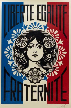 Siebdruck Fairey -  Liberté, Egalité, Fraternité