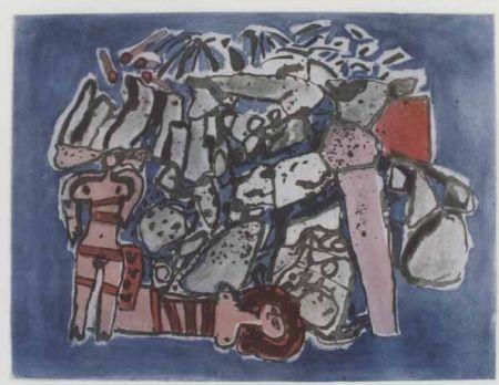 Aquatinta Corneille - Lieu rupestre