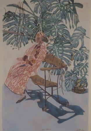 Lithographie Szafran - Lilette à la chaise de Gaudi.