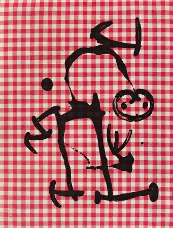 Lithographie Miró - L'Illetre aux Carreaux Rouges