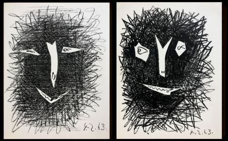 Lithographie Picasso -  lithograph IV TWO PIECES