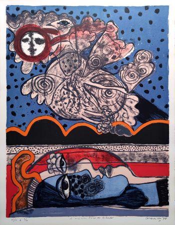 Lithographie Corneille - L'oiseau îvre de liberté