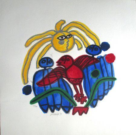 Lithographie Corneille - L'oiseau rouge