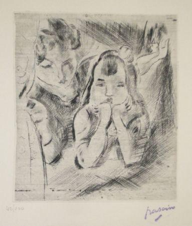 Kaltnadelradierung Pascin - Mère et fille