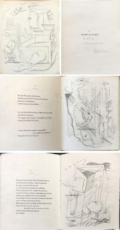 Illustriertes Buch Masson - M. Leiris & A. Masson : SIMULACRE. 7 lithographies originales. Dédicacé (1925)