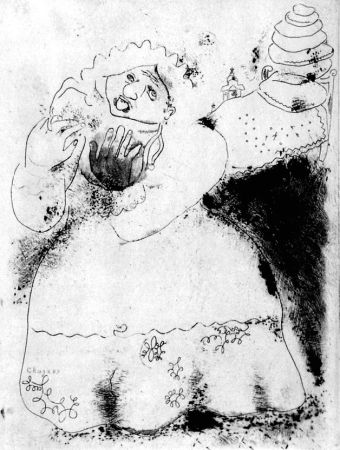 Radierung Chagall - Madame Korobotchka