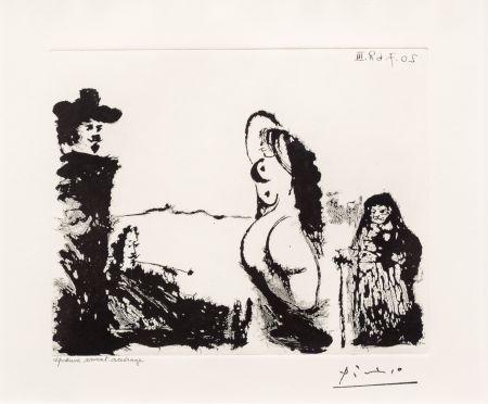 Aquatinta Picasso - Maja et Celestine