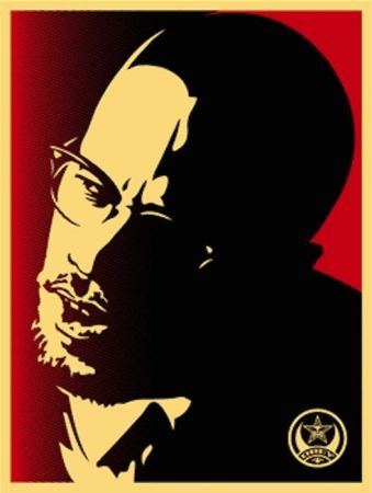 Siebdruck Fairey - Malcolm X Red