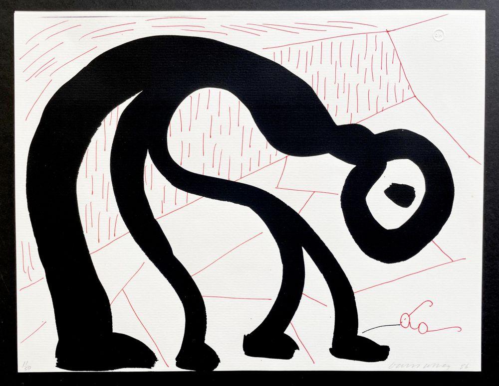 Keine Technische Hockney - Man Looking for his glasses, April 1986