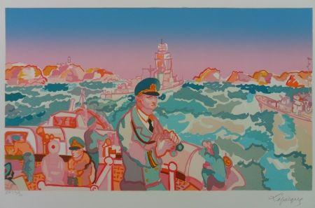 Lithographie Lapicque - Maneuvre en rade de Brest