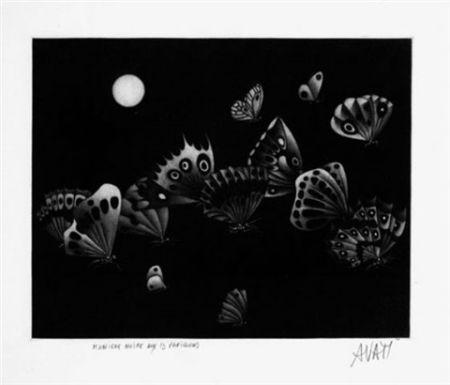 Mezzotinto Avati - Manière noire au 13 papillons (1964)