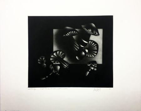 Mezzotinto Avati - Manière noire aux champignons (1964)