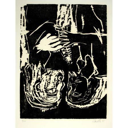 Lithographie Baselitz - Mann und Frau III (mit Tanne),1985