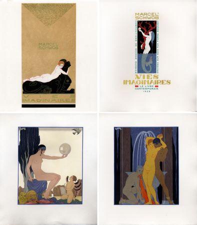 Illustriertes Buch Barbier - Marcel Schwob : VIES IMAGINAIRES. Compositions par George Barbier. Le Livre Contemporain (1929). Dans une reliure Art-Déco.
