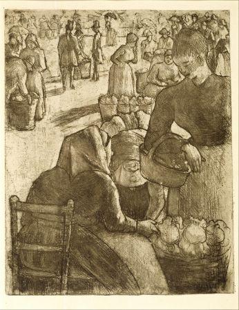 Stich Pissarro - Marché aux légumes, à Pontoise