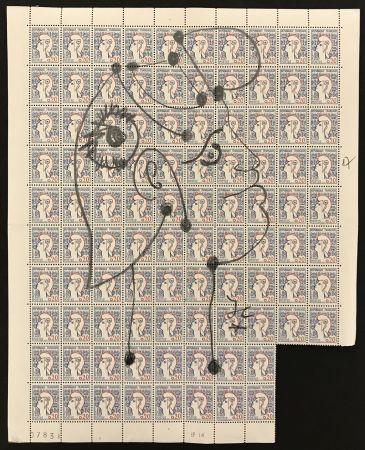 Keine Technische Cocteau - Marianne sur une planche de 96 timbres de la Marianne de Cocteau (Marianne on a plate of 96 stamps of Marianne de Cocteau)