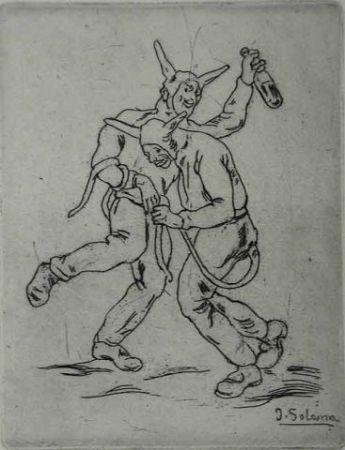 Radierung Gutiérrez Solana  - Mascaras Diablos Bailando