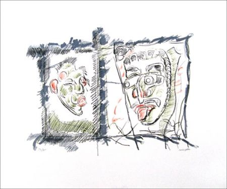 Lithographie Riopelle - Masques