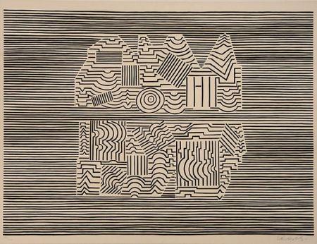 Siebdruck Vasarely - Meandre