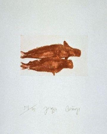 Radierung Und Aquatinta Beuys - Meerengel Zwei Robben