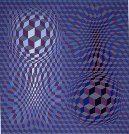 Lithographie Vasarely - Metagalaxie