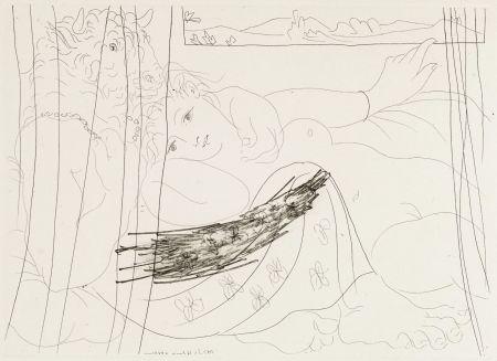 Radierung Picasso - Minotaure et femme derriere un rideu