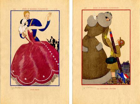 Illustriertes Buch Lepape - MODES ET MANIÈRES D'AUJOURD' HUI. Années de Guerre. 1914-1919