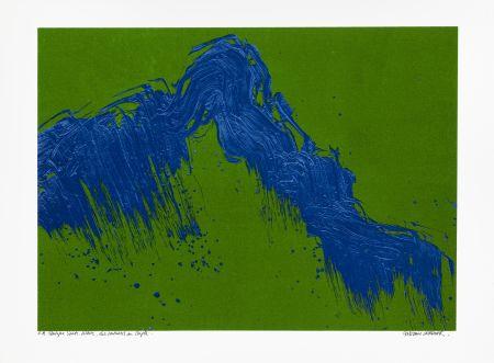 Siebdruck Verdier - Montagne Sainte-Victoire, des Venturiers au Cengle un jour d'été (vert)
