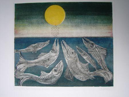 Radierung Und Aquatinta Finsterer - Morgenstern >Fisches Nachtgesang<