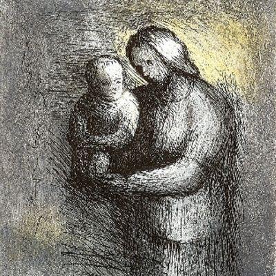 Radierung Und Aquatinta Moore - Mother & Child I