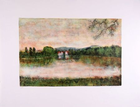 Lithographie Gantner - Moulins au bord de l'eau - Mills at the border water