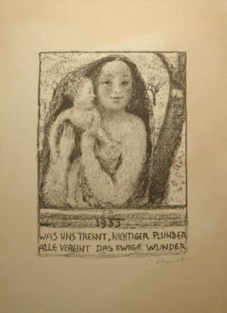Lithographie Amiet - Mutter und Kind