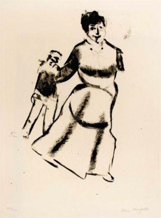 Kaltnadelradierung Chagall - Mutter Und Sohn