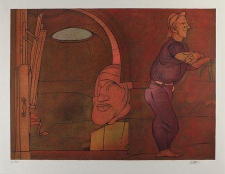 Lithographie Adami - Naissance de la penture