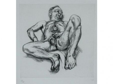 Radierung Freud - Naked man on a bed