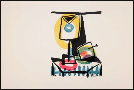 Stich Picasso - NATURE MORTE AU VERRE ET À LA POMME (Le grand verre). Pointe sèche et burin (1944)
