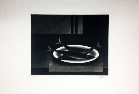 Mezzotinto Avati - Nature morte aux 3 poissons (1961)