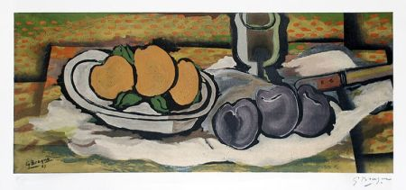 Lithographie Braque - Nature Morte Aux Fruits, 1950