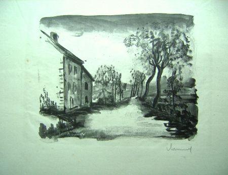 Lithographie Vlaminck - Nelle-la-Vallee, le chemin aux Bords de Sausseron