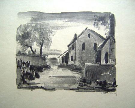 Lithographie Vlaminck - Nelle-la-Vallee. Maisons rustiques