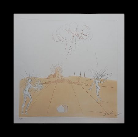 Stich Dali - Neuf Paysages Paysage avec Figures-Soleil from Sun