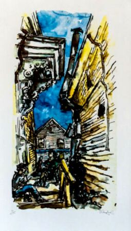 Lithographie Gross - New England Street Scene