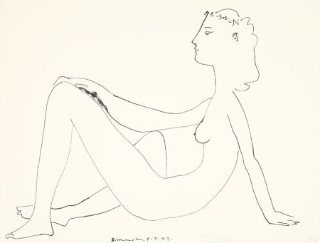 Lithographie Picasso - Nu assis, de profil